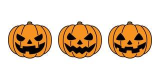 Kürbis-Halloween-Ikonenlogogeistcharakter-Karikaturillustration Stockfotografie