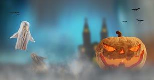 Kürbis Halloweens 3d-illustration Halloween-Nebelhintergrund mit lizenzfreie abbildung