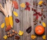 Kürbis, Nüsse, Eicheln, Mais und Herbstlaub auf einem alten verwittert stockbild