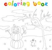 Kürbis-Schneemann mit einem netten Gesicht, das unter einem Herbstbaum O steht lizenzfreie abbildung