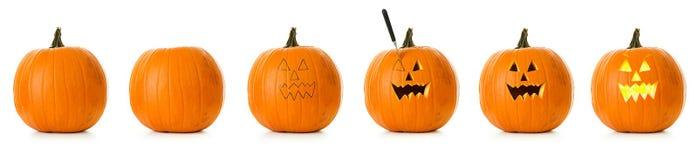 Kürbis: Stadien von Halloween-Kürbis, der geschnitzt wird Stockbilder