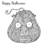 Kürbis zentangle Vektor in Halloween Stockbilder