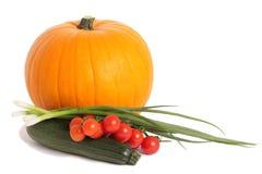 Kürbis, Zucchini und Tomaten Stockfotos
