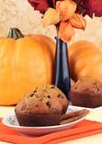 Kürbischip-Muffins auf einer Tabelle stockbild