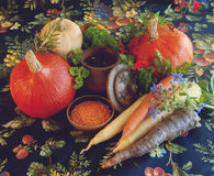 Kürbise, Karotten, Samen, Moschuskürbis und Kräuter Stockfotos