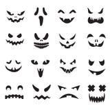 Kürbisgesichter Laternen-Gesichtsschattenbilder Halloween-Steckfassung O Monstergeist, der furchtsame Augen und die Mundvektoriko lizenzfreie abbildung