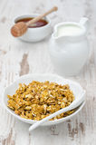Kürbisgranola mit Milch und Honig Lizenzfreies Stockfoto