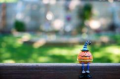 Kürbishauptsitzen auf einem Zaun stockfotos