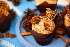 Kürbiskleiner kuchen mit dem Frischkäsebereifen des Kürbisgewürzs und Karamellscherbe Lizenzfreie Stockfotografie
