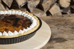 Kürbiskuchen auf hölzernem Hintergrund Stockbild