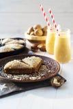 Kürbiskuchen- und Kürbismilchshake Stockfotos