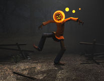Kürbismann-Halloween-Zeichen Lizenzfreie Stockfotos
