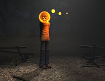 Kürbismann-Halloween-Zeichen Lizenzfreies Stockbild