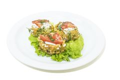 Kürbissalat auf weißer Platte lizenzfreie stockfotos