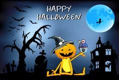 KürbisspaßÂ Â Halloween - Junge in einem Hut mit Kuchen stock abbildung