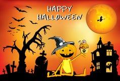 Kürbisspaß Â Halloween - Junge in einem Hut mit Kuchen, Plakat Lizenzfreies Stockfoto