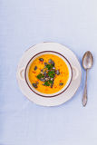 Kürbissuppe mit Kürbiskernen und Paprikapfeffern lizenzfreies stockfoto