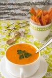 Kürbissuppe mit Karottenchips Lizenzfreies Stockfoto