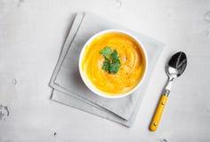 Kürbissuppe mit Petersilienhintergrund Stockfotografie