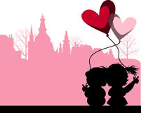 Küssen der Paare über der Stadt. Stockfotografie