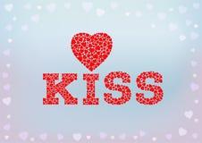 Küssen Sie Aufschrift mit dem Herzsymbol, das von den kleinen Herzformen auf blauem weichem Hintergrund gemacht wird Stockbild