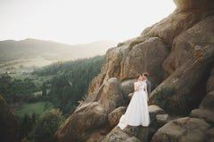 Küssen von den Hochzeitspaaren, die über schöner Landschaft bleiben lizenzfreie stockfotografie