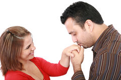 Küssende Hand des Ehemanns seine Frau Stockfotos
