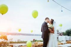 Küssende Hochzeit der schönen jungen Paare, blonde Braut mit ihrem GR Lizenzfreie Stockfotografie