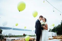 Küssende Hochzeit der schönen jungen Paare, blonde Braut mit ihrem GR Stockfotos