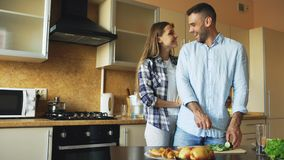 Küssende Umfassung der glücklichen jungen Paare und Plaudern in der Küche beim Frühstück zu Hause kochen Lizenzfreies Stockbild