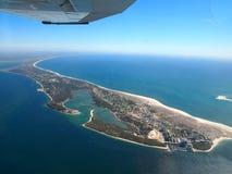 Küste Comporta Portugal von einem Flugzeug stockfotografie