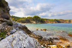 Küste des Mount Athos Stockfotos