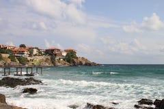 Küste des Schwarzen Meers in altem Sozopol Lizenzfreies Stockfoto
