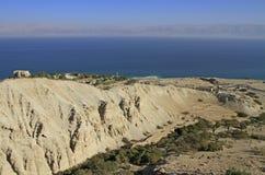 Küste des Toten Meers von der Gebirgsspitze stockfotografie