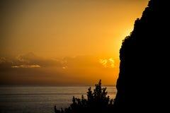 Küste Italiens Cinque Terre Ligurier seaview Sonnenuntergang lizenzfreie stockfotos