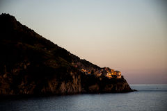 Küste Italiens Cinque Terre Ligurier seaview Sonnenuntergang stockbilder