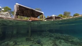 Küste kekova in der Türkei, Feiertagsplatz, Bild der bunten Schildkröte vom Underwater Stockfotografie