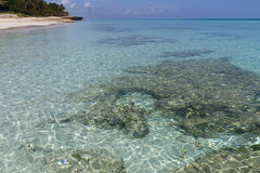 Küste, sandige Unterseite, transparentes Wasser Lizenzfreies Stockbild