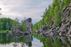 Küste vom Onegasee Karelien Stockfoto