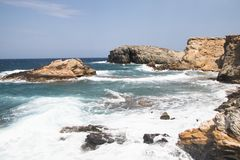 Küste von Antiparos in Griechenland Lizenzfreie Stockbilder