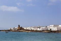 Küste von Caleta de Sebo auf La Graciosa stockbild