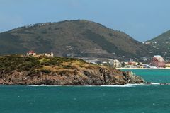 Küste von Insel im karibischen Meer Philipsburg, St Martin Lizenzfreies Stockbild