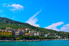 Küste von Portovenere in Italien Stockfotografie
