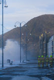 Küstenüberschwemmungsaberystwyth Stockfotografie