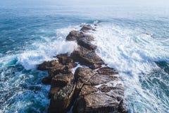 Küsten-Landschaftsvogelperspektive des Waimushan-Küsten-Naturschutzgebiets stockfoto