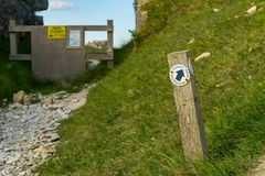 Küsten-Weg-Ablenkung, Insel von Portland, Juraküste, Dorset, stockfotos