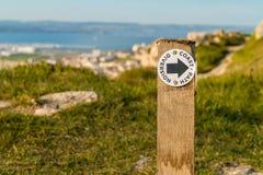 Küsten-Weg-Ablenkung, Insel von Portland, Juraküste, Dorset, stockfoto