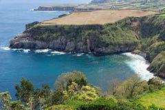 Küstenansicht bei Santa Iria im Sao Miguel Island, Azoren, Portugal stockfoto