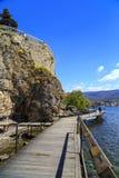 Küstenansicht von Ohrid, Mazedonien Stockfotos