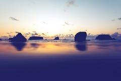 Küstenflusssteine bei Sonnenuntergang auf Oregon-Küstenlinie Lizenzfreie Stockfotografie